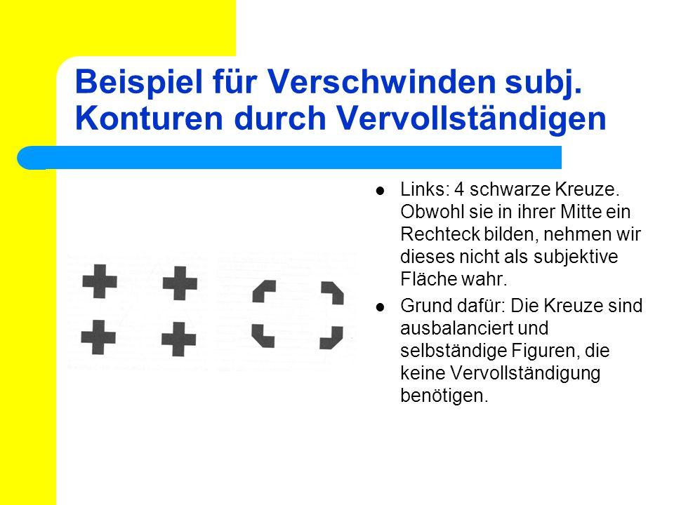 Links: 4 schwarze Kreuze. Obwohl sie in ihrer Mitte ein Rechteck bilden, nehmen wir dieses nicht als subjektive Fläche wahr. Grund dafür: Die Kreuze s