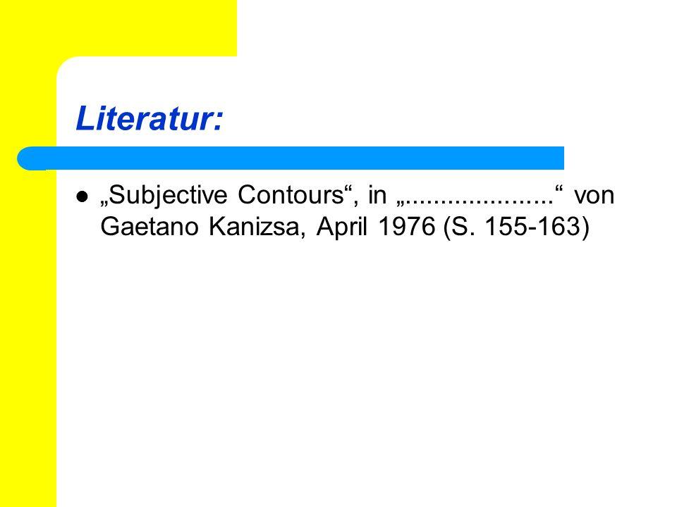 Literatur: Subjective Contours, in..................... von Gaetano Kanizsa, April 1976 (S. 155-163)