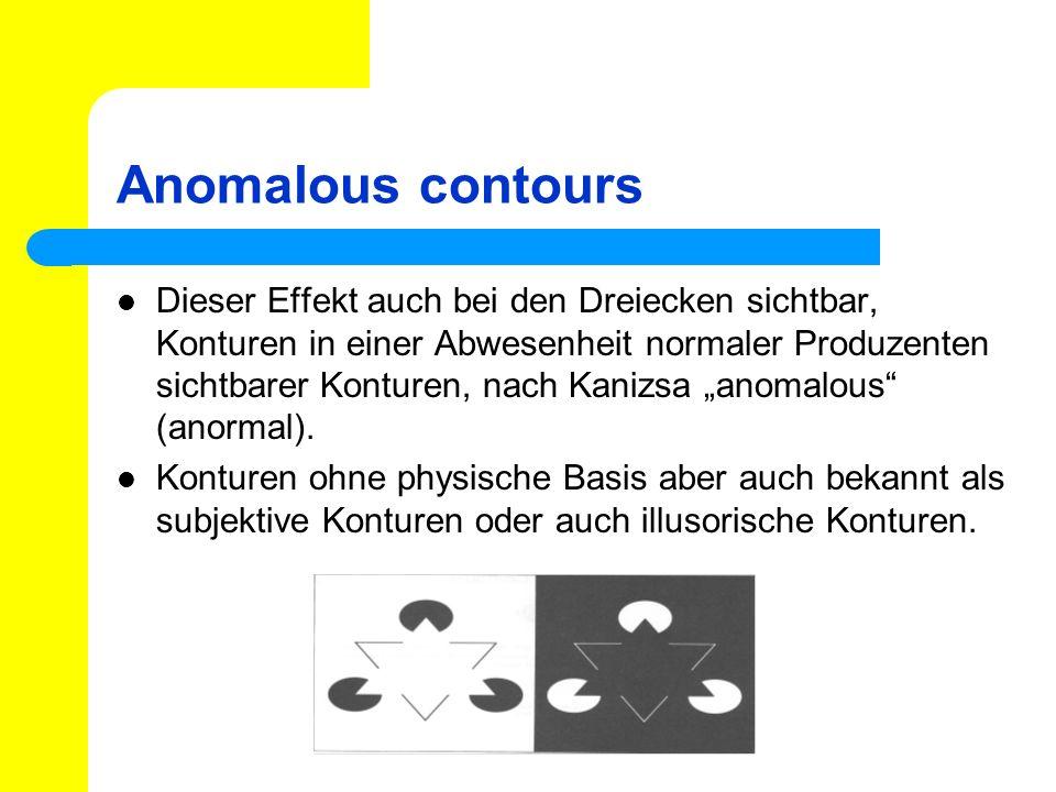 Anomalous contours Dieser Effekt auch bei den Dreiecken sichtbar, Konturen in einer Abwesenheit normaler Produzenten sichtbarer Konturen, nach Kanizsa