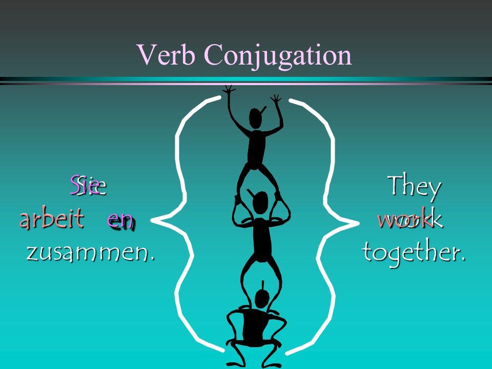 Verb Conjugation Siezusammen. They live together. Sieenen wohnwohnlive