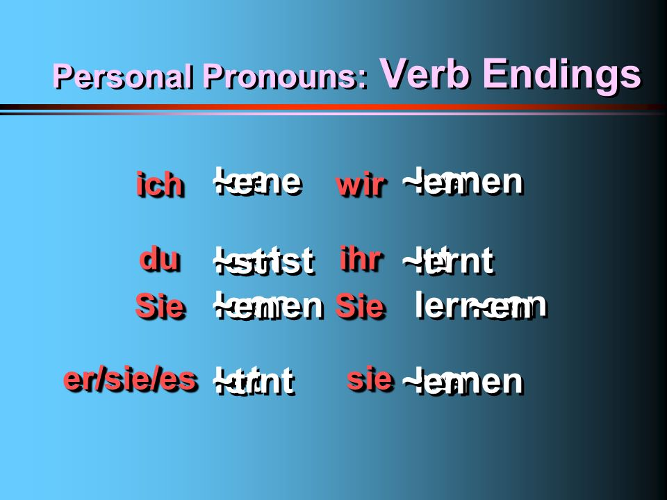 Personal Pronouns: Verb Endings 1st pers. 2nd pers.