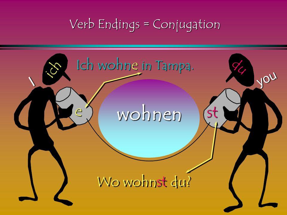 lernen ich e st du I you Ich lerne Deutsch. Was lernst du Verb Endings = Conjugation