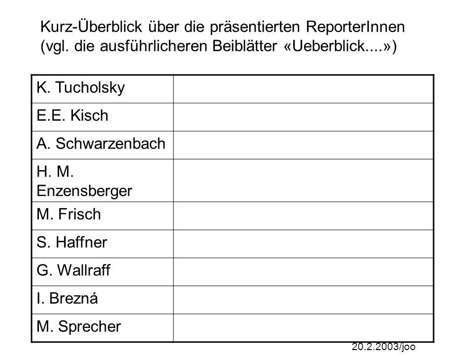 20.2.2003/joo Kurz-Überblick über die präsentierten ReporterInnen (vgl.