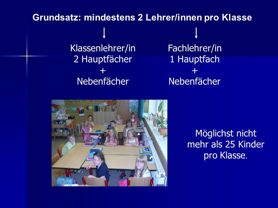 Möglichst nicht mehr als 25 Kinder pro Klasse. Grundsatz: mindestens 2 Lehrer/innen pro Klasse Klassenlehrer/in 2 Hauptfächer + Nebenfächer Fachlehrer