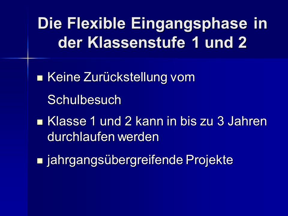 Die Flexible Eingangsphase in der Klassenstufe 1 und 2 Keine Zurückstellung vom Schulbesuch Keine Zurückstellung vom Schulbesuch Klasse 1 und 2 kann i