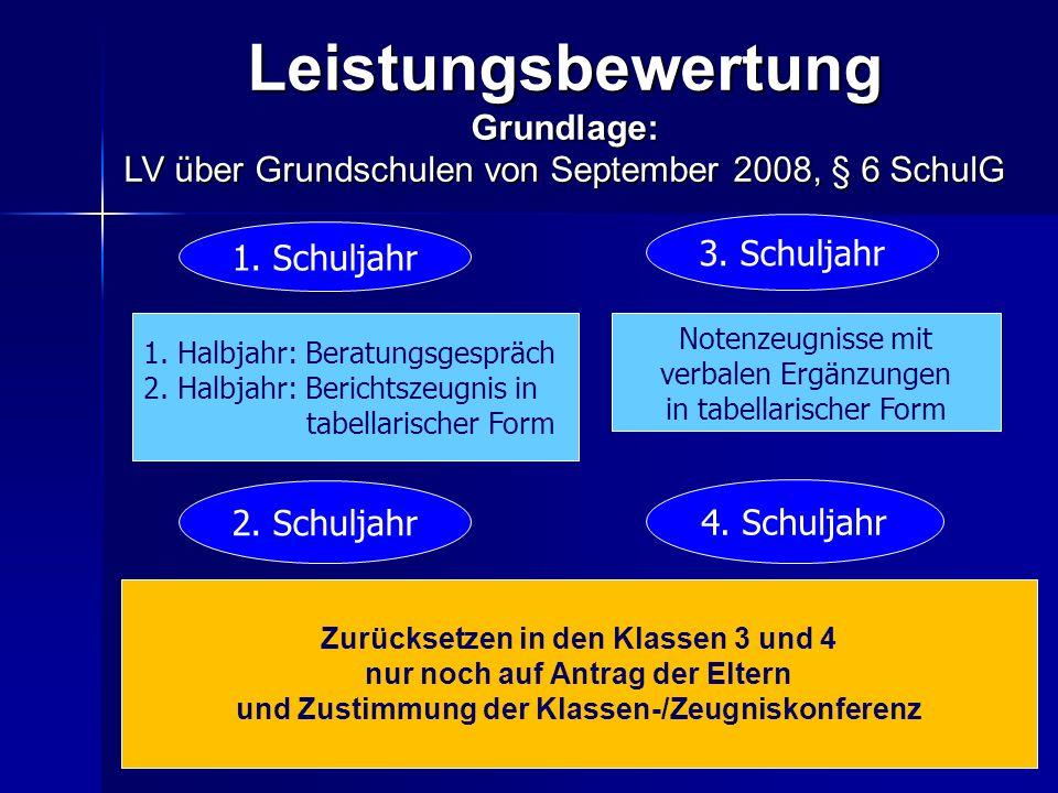 LeistungsbewertungGrundlage: LV über Grundschulen von September 2008, § 6 SchulG Notenzeugnisse mit verbalen Ergänzungen in tabellarischer Form 1. Sch
