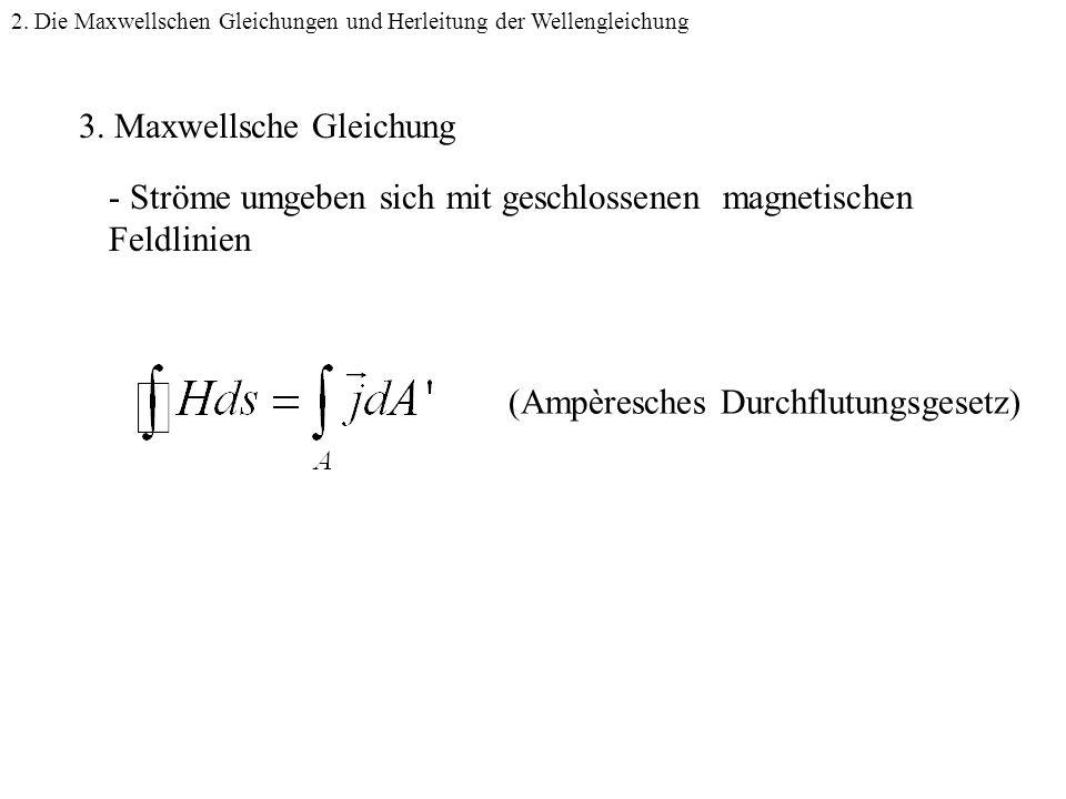 3.Maxwellsche Gleichung - Ströme umgeben sich mit geschlossenen magnetischen Feldlinien 2.