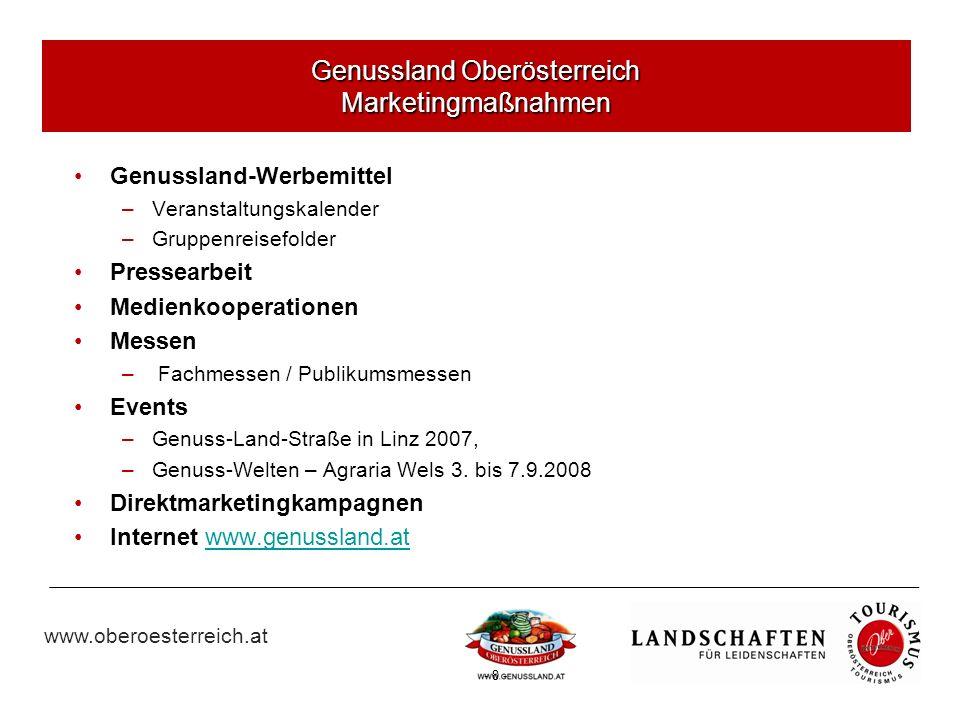 www.oberoesterreich.at - 8 - Genussland-Werbemittel –Veranstaltungskalender –Gruppenreisefolder Pressearbeit Medienkooperationen Messen – Fachmessen / Publikumsmessen Events –Genuss-Land-Straße in Linz 2007, –Genuss-Welten – Agraria Wels 3.