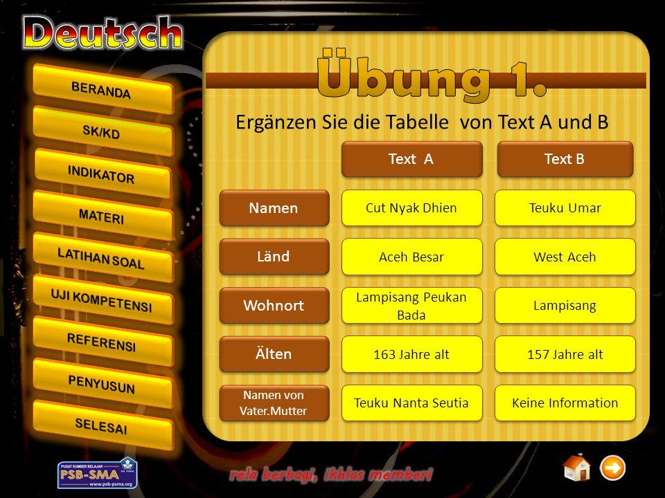 Ergänzen Sie die Tabelle von Text A und B Namen Länd Wohnort Älten Namen von Vater.Mutter Text A Text B Cut Nyak Dhien Aceh Besar Lampisang Peukan Bad