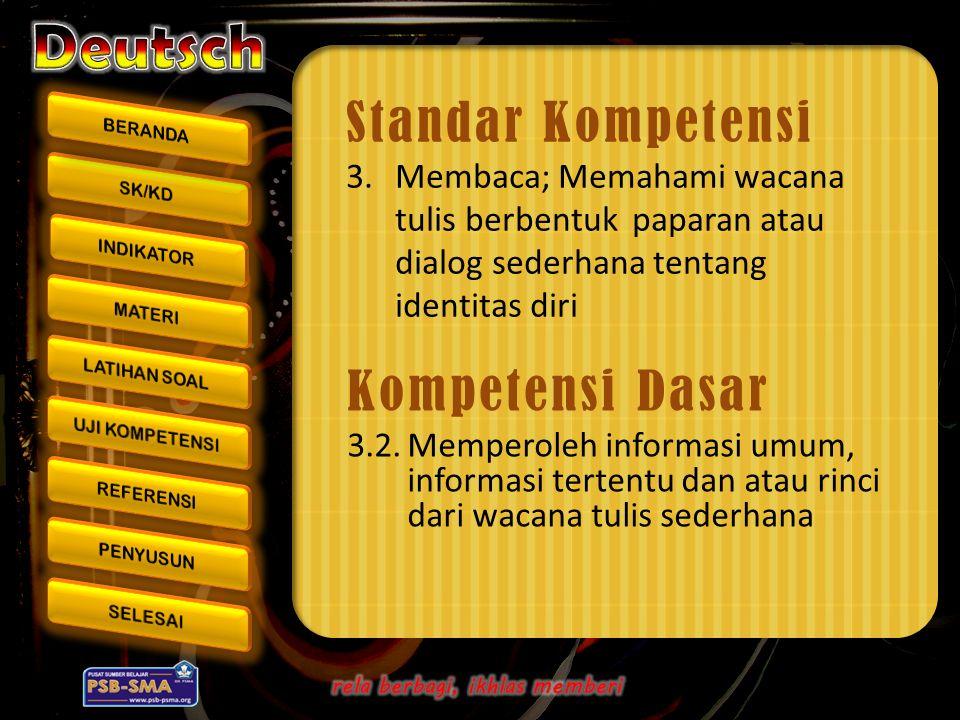 Kompetensi Dasar 3.2.Memperoleh informasi umum, informasi tertentu dan atau rinci dari wacana tulis sederhana Standar Kompetensi 3.Membaca; Memahami w