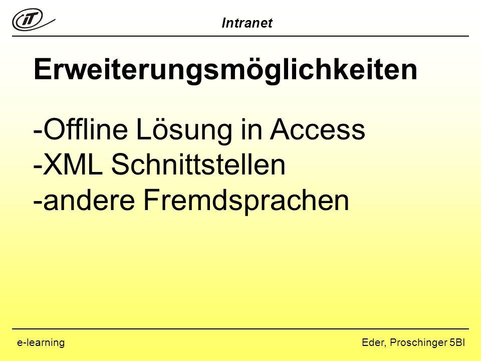 Intranet Eder, Proschinger 5BIe-learning Erweiterungsmöglichkeiten -Offline Lösung in Access -XML Schnittstellen -andere Fremdsprachen