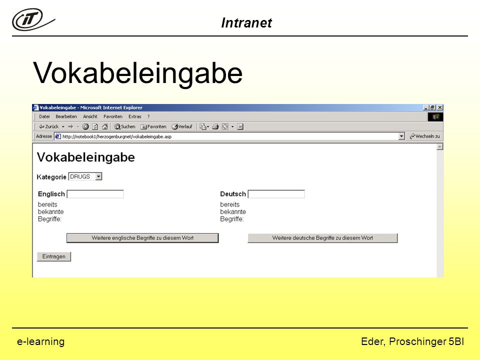 Intranet Eder, Proschinger 5BIe-learning Vokabeleingabe
