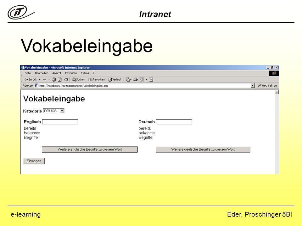 Intranet Eder, Proschinger 5BIe-learning Vokabelfreigabe