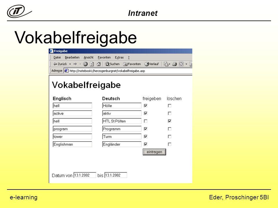 Intranet Eder, Proschinger 5BIe-learning Vokabelsuche