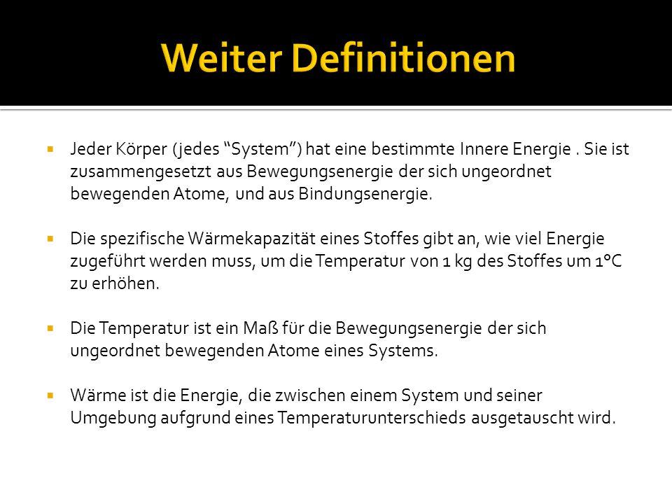 Jeder Körper (jedes System) hat eine bestimmte Innere Energie.