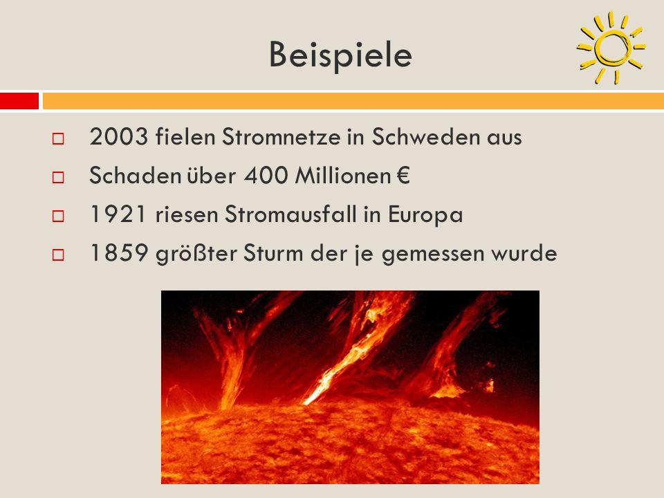 Beispiele 2003 fielen Stromnetze in Schweden aus Schaden über 400 Millionen 1921 riesen Stromausfall in Europa 1859 größter Sturm der je gemessen wurd