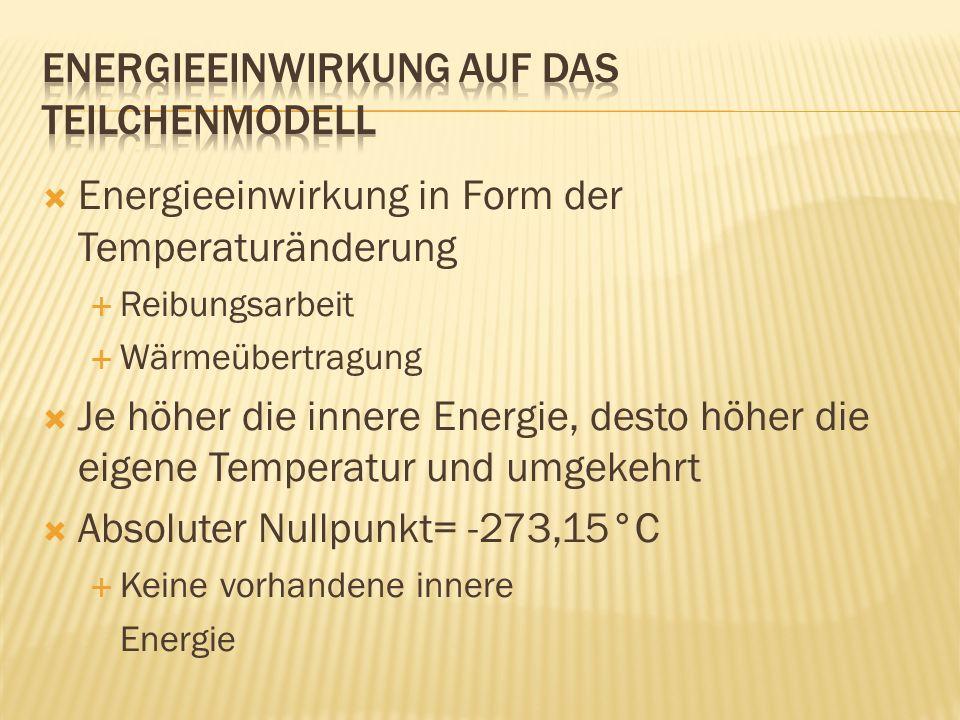 Energieeinwirkung in Form der Temperaturänderung Reibungsarbeit Wärmeübertragung Je höher die innere Energie, desto höher die eigene Temperatur und um