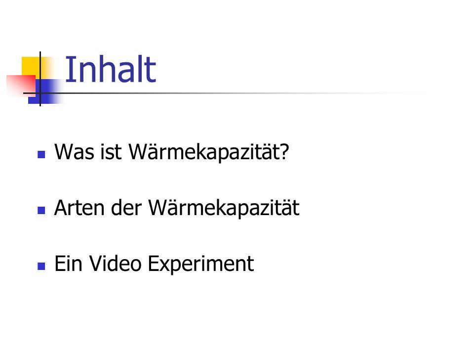 Inhalt Was ist Wärmekapazität? Arten der Wärmekapazität Ein Video Experiment