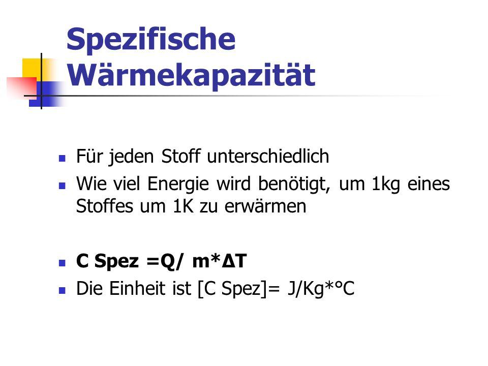 Spezifische Wärmekapazität Für jeden Stoff unterschiedlich Wie viel Energie wird benötigt, um 1kg eines Stoffes um 1K zu erwärmen C Spez =Q/ m*ΔT Die