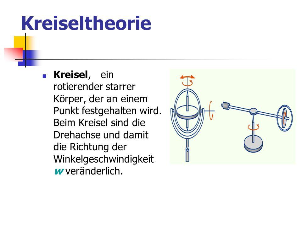 Kreiseltheorie Kreisel, ein rotierender starrer Körper, der an einem Punkt festgehalten wird. Beim Kreisel sind die Drehachse und damit die Richtung d