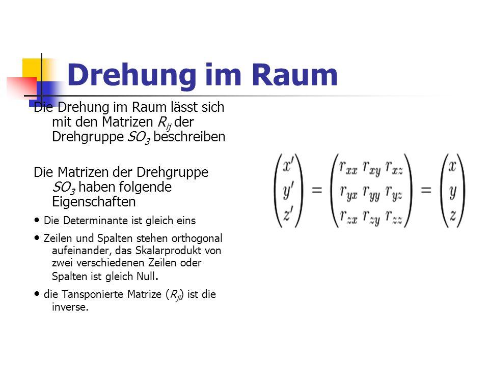 Drehung im Raum Die Drehung im Raum lässt sich mit den Matrizen R ij der Drehgruppe SO 3 beschreiben Die Matrizen der Drehgruppe SO 3 haben folgende E