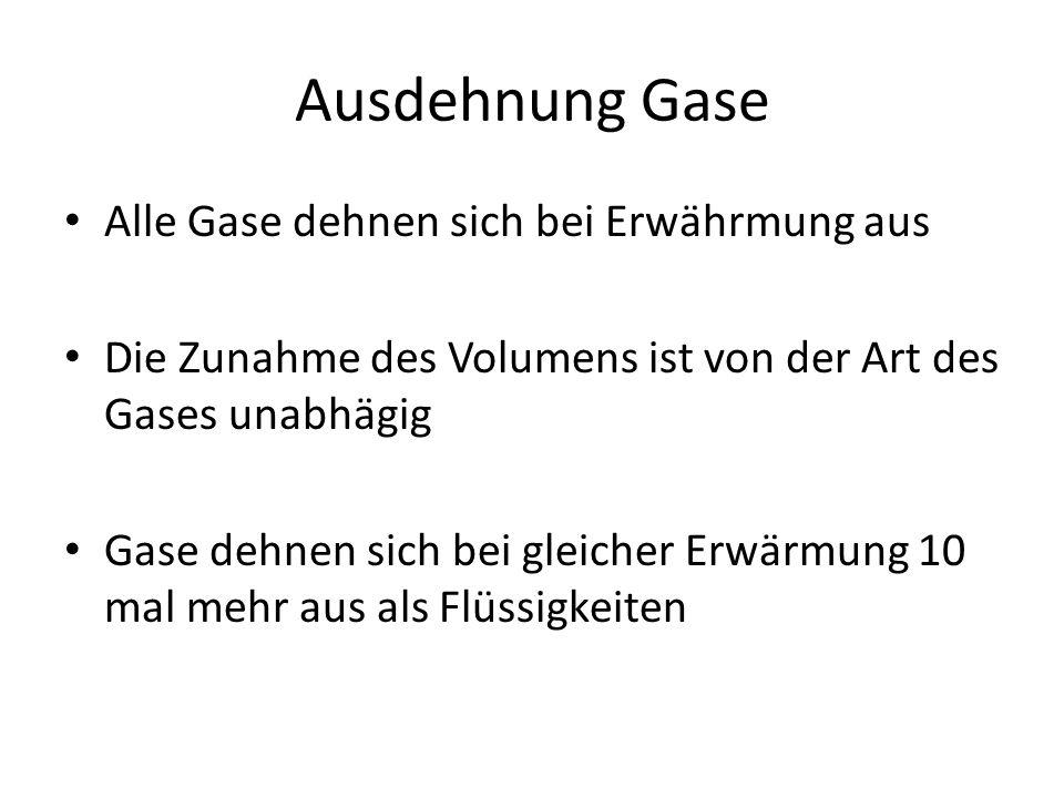Ausdehnung Gase Alle Gase dehnen sich bei Erwährmung aus Die Zunahme des Volumens ist von der Art des Gases unabhägig Gase dehnen sich bei gleicher Er