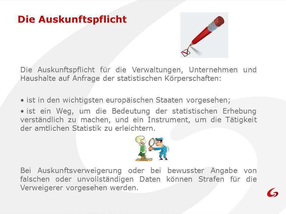 Die Auskunftspflicht für die Verwaltungen, Unternehmen und Haushalte auf Anfrage der statistischen Körperschaften: ist in den wichtigsten europäischen