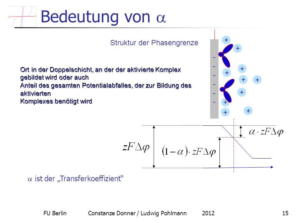 FU Berlin Constanze Donner / Ludwig Pohlmann 201215 Bedeutung von Struktur der Phasengrenze ------------ + + + + + + + + + + Ort in der Doppelschicht,
