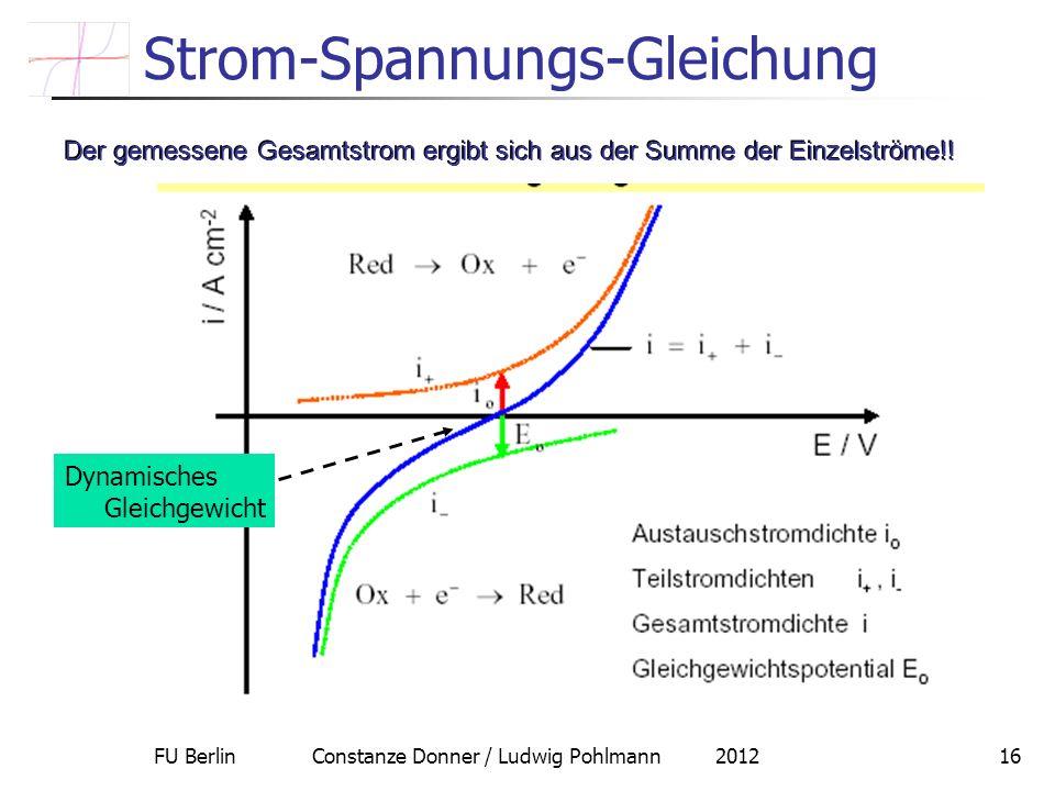 FU Berlin Constanze Donner / Ludwig Pohlmann 201216 Strom-Spannungs-Gleichung Der gemessene Gesamtstrom ergibt sich aus der Summe der Einzelströme!! D
