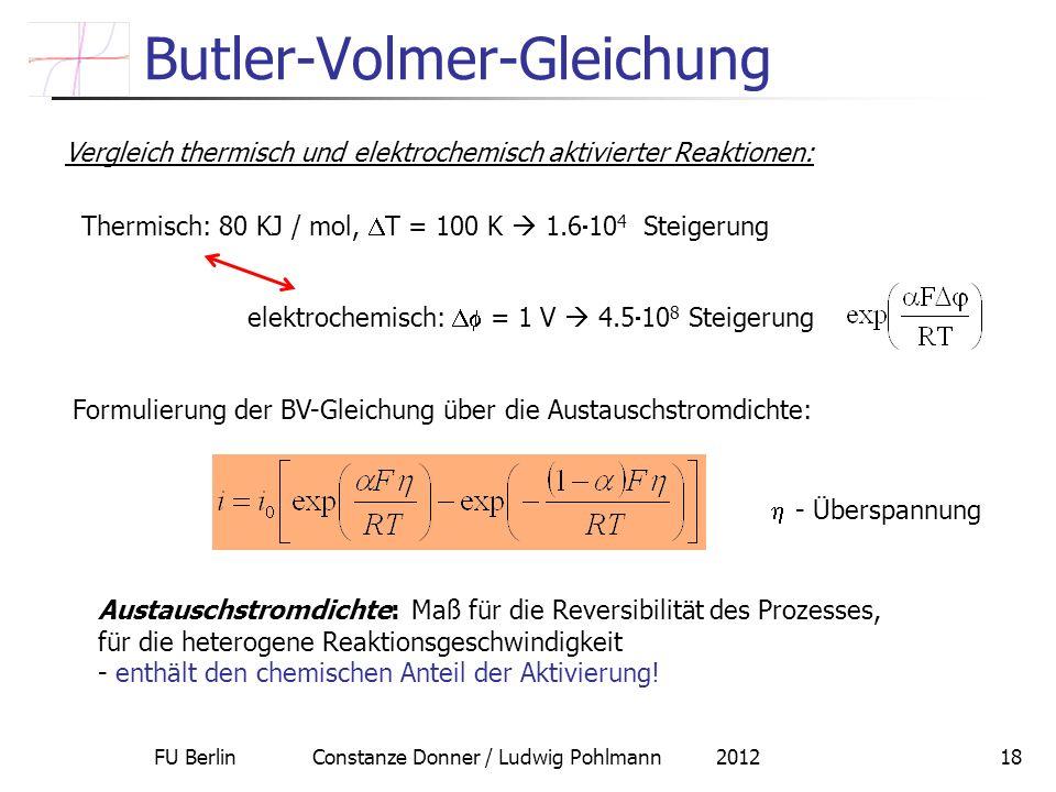 FU Berlin Constanze Donner / Ludwig Pohlmann 201218 Butler-Volmer-Gleichung Vergleich thermisch und elektrochemisch aktivierter Reaktionen: Thermisch:
