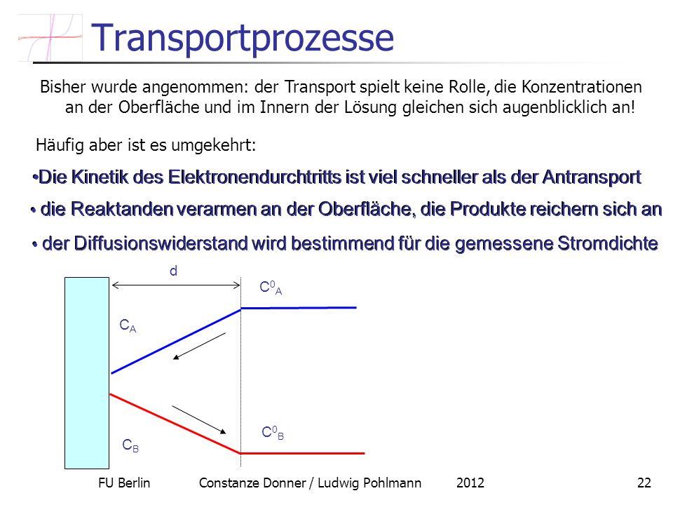 FU Berlin Constanze Donner / Ludwig Pohlmann 201222 Transportprozesse Bisher wurde angenommen: der Transport spielt keine Rolle, die Konzentrationen a