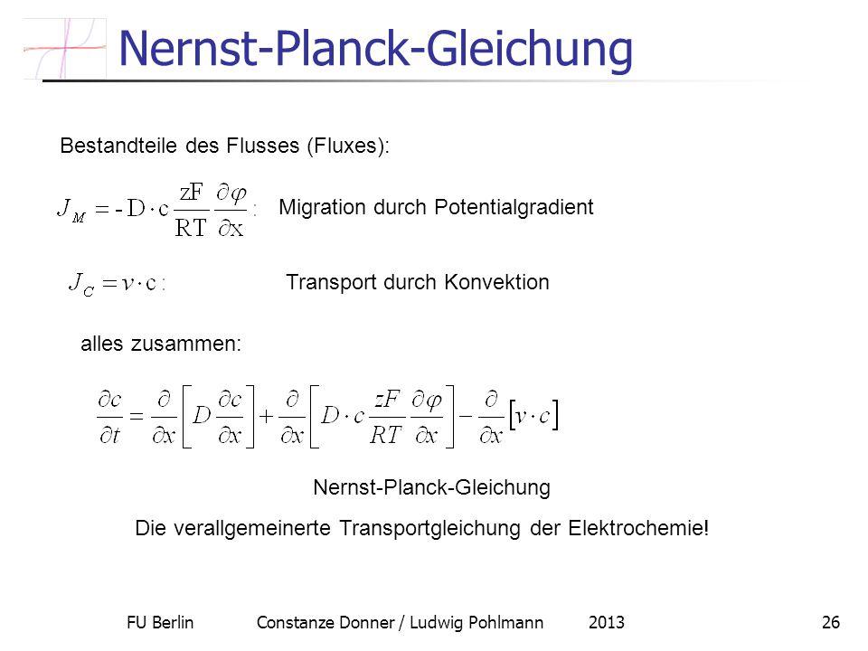 FU Berlin Constanze Donner / Ludwig Pohlmann 201326 Nernst-Planck-Gleichung Bestandteile des Flusses (Fluxes): Migration durch Potentialgradient Trans
