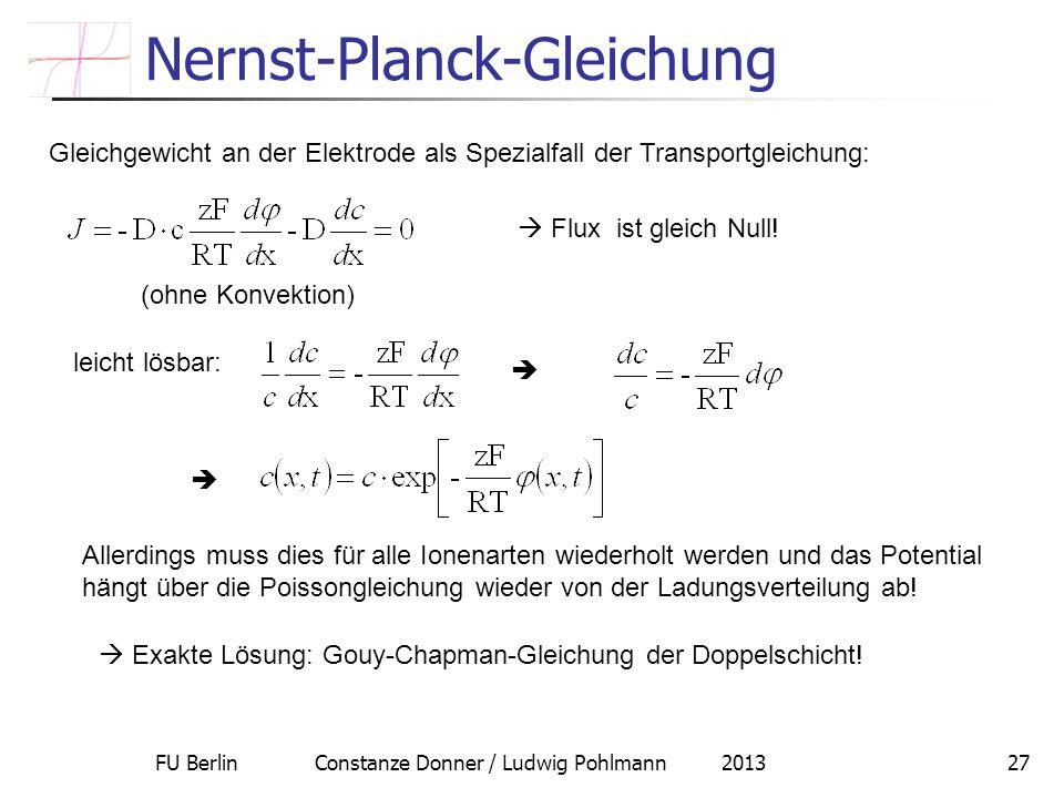 FU Berlin Constanze Donner / Ludwig Pohlmann 201327 Nernst-Planck-Gleichung Gleichgewicht an der Elektrode als Spezialfall der Transportgleichung: Flu