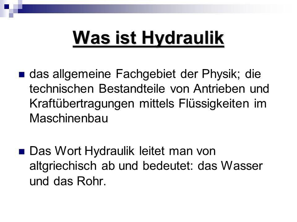 Was ist Hydraulik das allgemeine Fachgebiet der Physik; die technischen Bestandteile von Antrieben und Kraftübertragungen mittels Flüssigkeiten im Mas