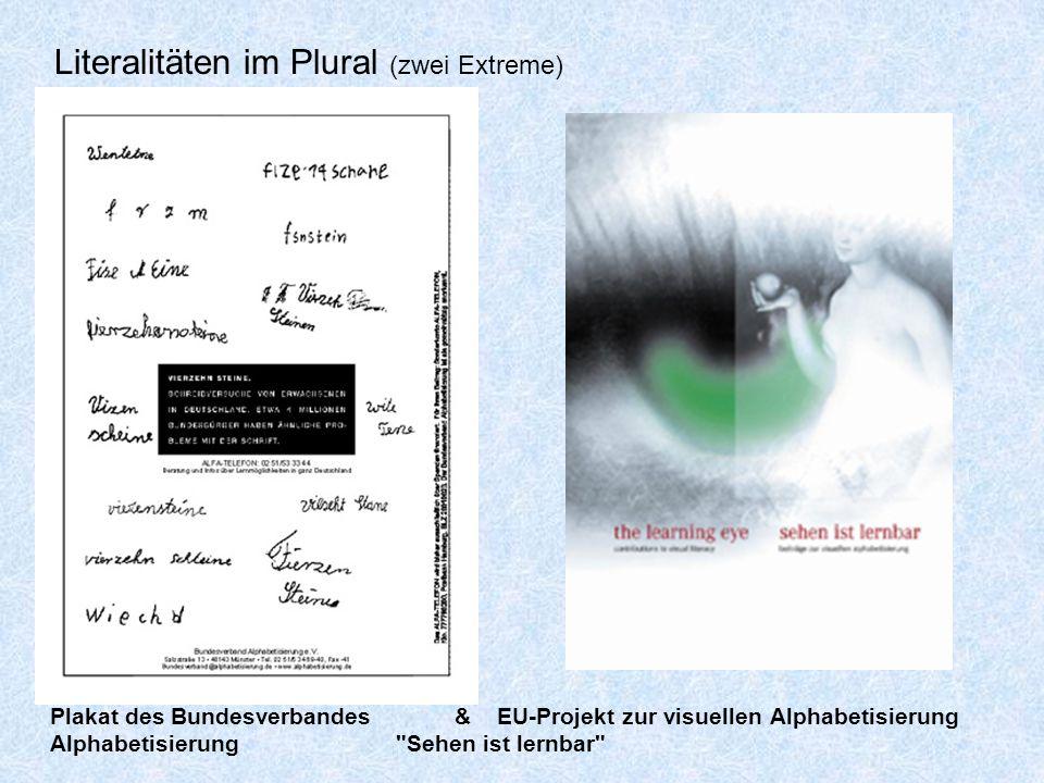 Literalitäten im Plural (zwei Extreme) Plakat des Bundesverbandes& EU-Projekt zur visuellen Alphabetisierung Alphabetisierung Sehen ist lernbar