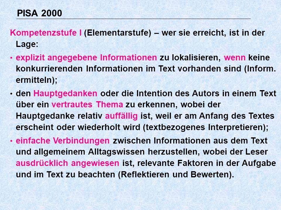 PISA 2000 Kompetenzstufe I (Elementarstufe) – wer sie erreicht, ist in der Lage: explizit angegebene Informationen zu lokalisieren, wenn keine konkurrierenden Informationen im Text vorhanden sind (Inform.