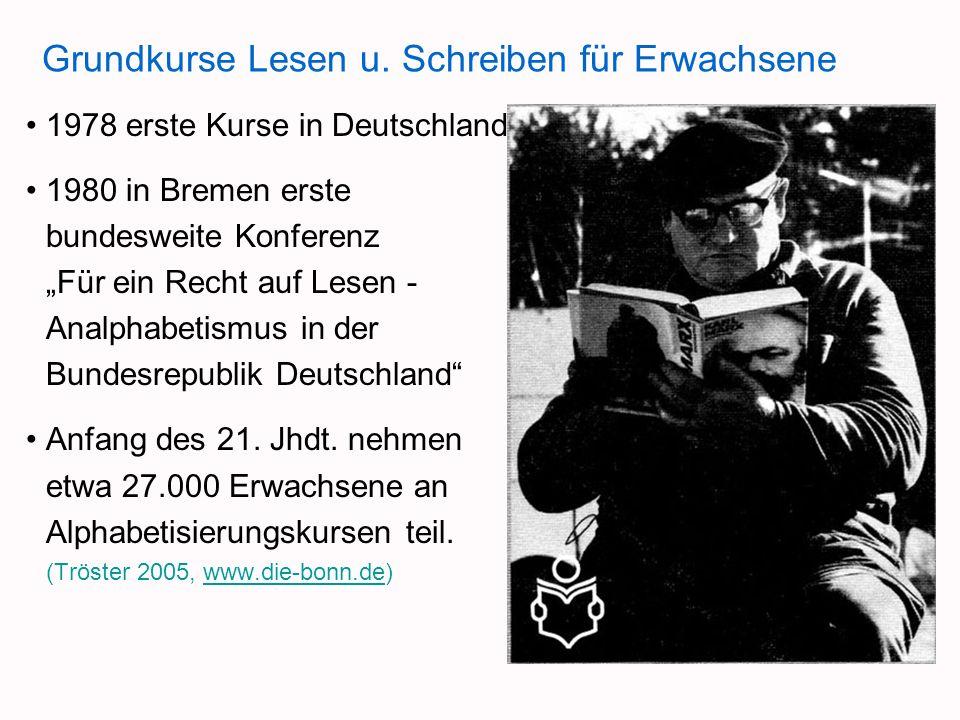 Grundkurse Lesen u. Schreiben für Erwachsene 1978 erste Kurse in Deutschland 1980 in Bremen erste bundesweite Konferenz Für ein Recht auf Lesen - Anal