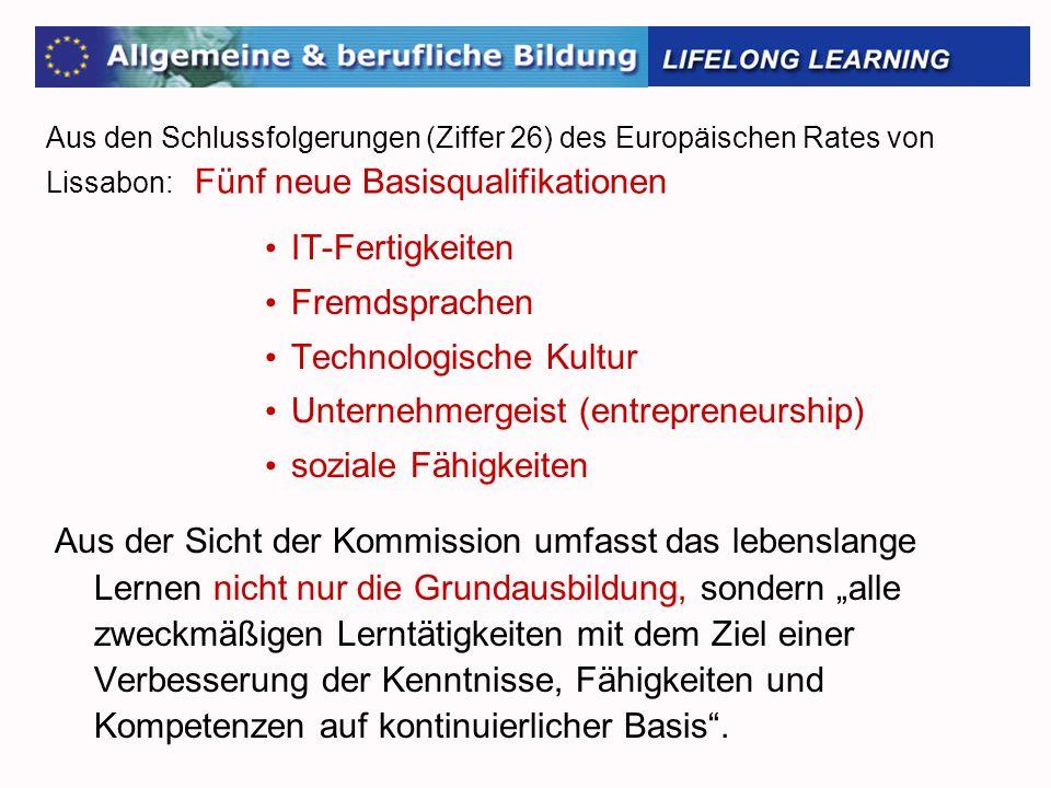 Aus den Schlussfolgerungen (Ziffer 26) des Europäischen Rates von Lissabon: Fünf neue Basisqualifikationen IT-Fertigkeiten Fremdsprachen Technologisch