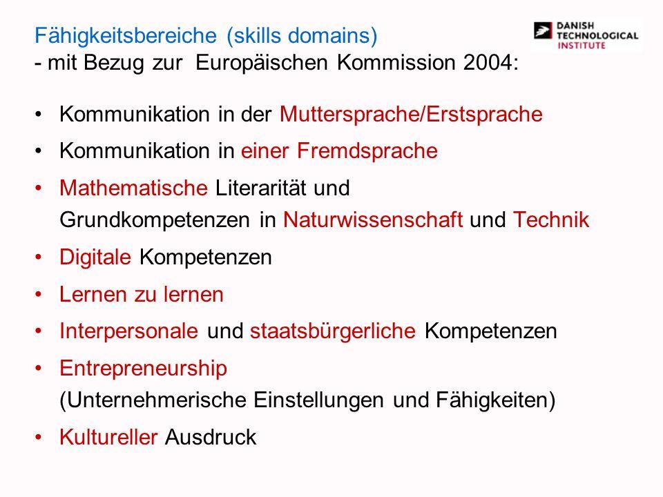 Fähigkeitsbereiche (skills domains) - mit Bezug zur Europäischen Kommission 2004: Kommunikation in der Muttersprache/Erstsprache Kommunikation in eine