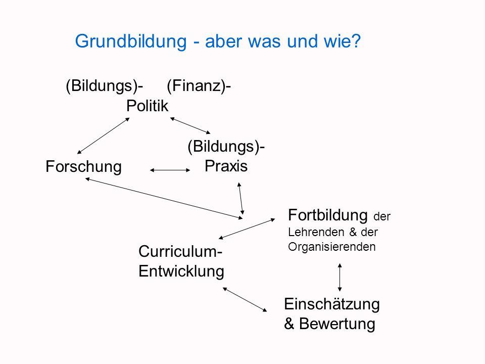 Grundbildung - aber was und wie? (Bildungs)-(Finanz)- Politik Forschung (Bildungs)- Praxis Curriculum- Entwicklung Fortbildung der Lehrenden & der Org