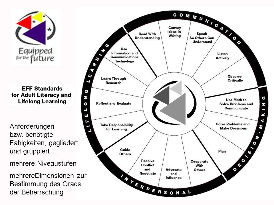 Anforderungen bzw. benötigte Fähigkeiten, gegliedert und gruppiert mehrere Niveaustufen mehrereDimensionen zur Bestimmung des Grads der Beherrschung