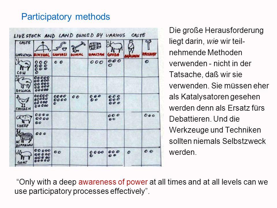 Participatory methods Die große Herausforderung liegt darin, wie wir teil- nehmende Methoden verwenden - nicht in der Tatsache, daß wir sie verwenden.