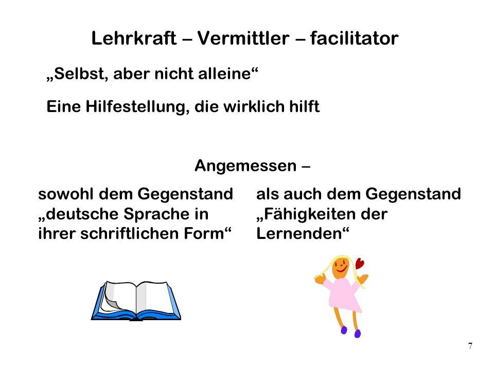 7 Lehrkraft – Vermittler – facilitator Selbst, aber nicht alleine Eine Hilfestellung, die wirklich hilft Angemessen – sowohl dem Gegenstand deutsche S