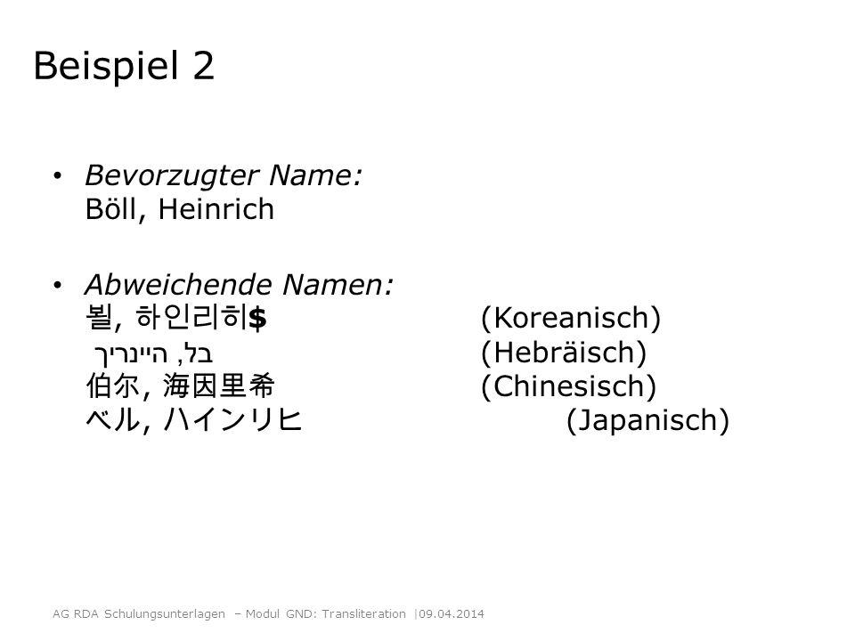 Beispiel 2 Bevorzugter Name: Böll, Heinrich Abweichende Namen:, $ (Koreanisch) בל, היינריך (Hebräisch), (Chinesisch), (Japanisch) AG RDA Schulungsunte