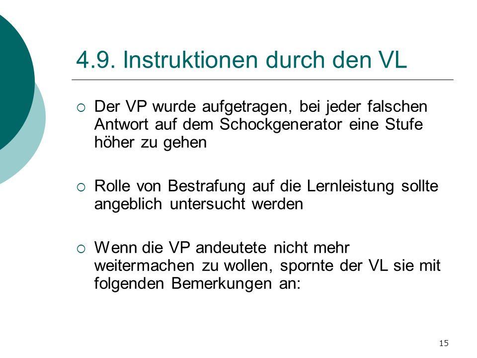 15 4.9. Instruktionen durch den VL Der VP wurde aufgetragen, bei jeder falschen Antwort auf dem Schockgenerator eine Stufe höher zu gehen Rolle von Be