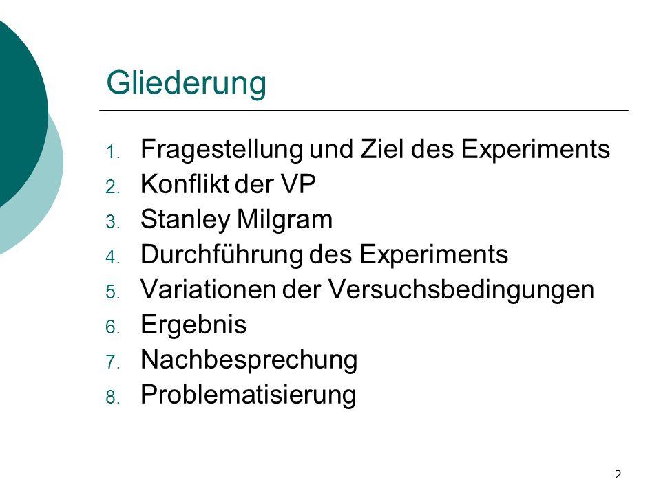 2 Gliederung 1. Fragestellung und Ziel des Experiments 2. Konflikt der VP 3. Stanley Milgram 4. Durchführung des Experiments 5. Variationen der Versuc