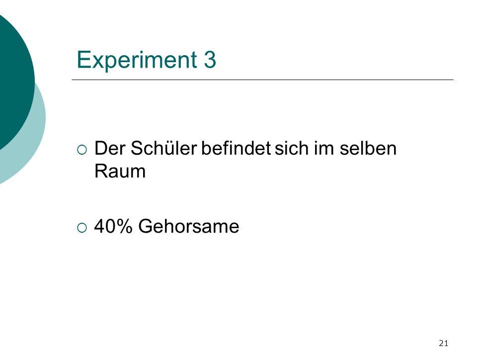 21 Experiment 3 Der Schüler befindet sich im selben Raum 40% Gehorsame