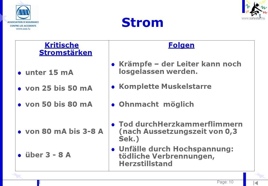 www.safestart.lu Page: 10 Strom Kritische Stromstärken l unter 15 mA l von 25 bis 50 mA l von 50 bis 80 mA l von 80 mA bis 3-8 A l über 3 - 8 A Folgen
