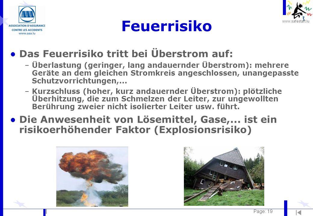 www.safestart.lu Page: 19 Feuerrisiko l Das Feuerrisiko tritt bei Überstrom auf: –Überlastung (geringer, lang andauernder Überstrom): mehrere Geräte a