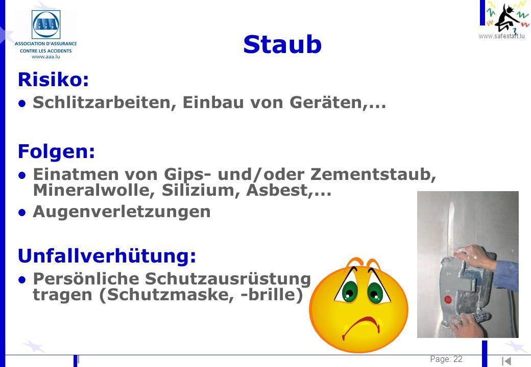 www.safestart.lu Page: 22 Staub Risiko: l Schlitzarbeiten, Einbau von Geräten,... Folgen: l Einatmen von Gips- und/oder Zementstaub, Mineralwolle, Sil